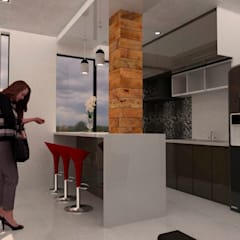 Small kitchens by Bocetos Studio Aquitectos, Minimalist Ceramic