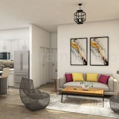 Trendy Open Kitchen with Living Room Design Of 3D Interior Modelling By Yantram Architectural Design Studio, France – Paris:  Event venues by Yantram Architectural Design Studio,
