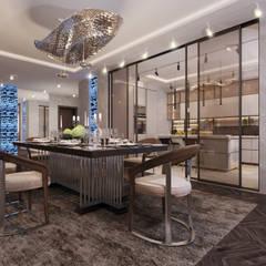 СИТИ Lux: Столовые комнаты в . Автор – GLAZOV design group концептуальная студия дизайна интерьеров