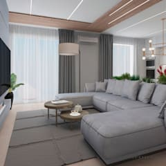 Дизайн-проект современной квартиры с панорамными видами: Гостиная в . Автор – YOUR COMFORTABLE HOME