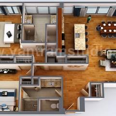 3D Floor Plan Rendering Apartment Design Ideas by Yantram 3D Architectural design studio, Dubai – UAE:  Floors by Yantram Architectural Design Studio