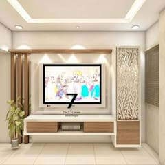residence at Kandivali link road:  Living room by The 7th Corner - Interior Designer