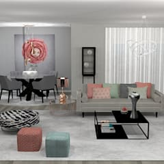 Imagem projecto 3D da sala: Salas de estar  por Hortelã Pimenta Interiores
