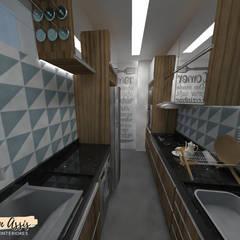 Cozinha Pequena Apartamento: Casas pequenas  por Hellen Assis - Designer de Interiores