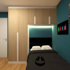 Dormitorio para Renzo: Cuartos pequeños  de estilo  por Lucero Pardo M. - Diseñadora de Interiores, Moderno Madera Acabado en madera