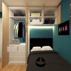 Dormitorio para Renzo: Dormitorios de estilo  por Lucero Pardo M. - Diseñadora de Interiores