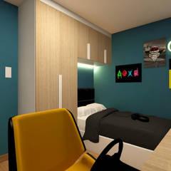 Dormitorio para Renzo: Cuartos pequeños  de estilo  por Lucero Pardo M. - Diseñadora de Interiores,