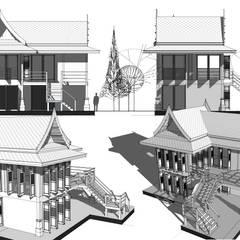 Project : ออกแบบกุฏิ...เรือนไทยประยุกต์:  บ้านเดี่ยว by Hip and Classic Design Studio
