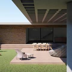 Jardines en la fachada de estilo  por Aoki Arquitetura