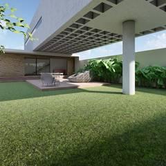 Jardins de fachada  por Aoki Arquitetura
