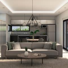 Cocina, comedor y sala de estar integrados: Livings de estilo  por MOD Arquitectura Ingeniería Construcción