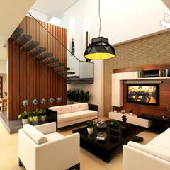 Proyecto unidade de vivienda (Saldaña - Tolima) Salas de estilo ecléctico de Taller 3M Arquitectura & Construcción Ecléctico Contrachapado