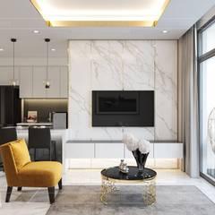Thiết kế nội thất hiện đại tại căn hộ Landmark 4 - Khu đô thị Vinhomes Central Park:  Phòng khách by ICON INTERIOR