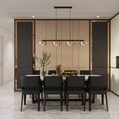 Thiết kế nội thất hiện đại tại căn hộ Landmark 4 - Khu đô thị Vinhomes Central Park:  Phòng ăn by ICON INTERIOR
