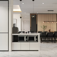 Thiết kế nội thất hiện đại tại căn hộ Landmark 4 - Khu đô thị Vinhomes Central Park:  Nhà bếp by ICON INTERIOR