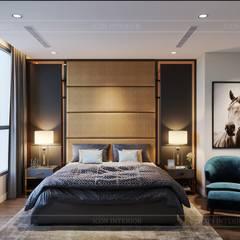 Thiết kế nội thất hiện đại tại căn hộ Landmark 4 - Khu đô thị Vinhomes Central Park:  Phòng ngủ by ICON INTERIOR