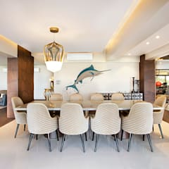 6 BHK, NEPEAN SEA ROAD:  Dining room by Finelines Designers Private Limited