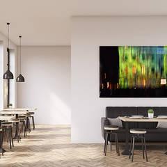 Neues Raumgefühl mit moderner Kunst, die den Schall absorbiert:  Esszimmer von freiraum Akustik - Raumakustik mit Stil,
