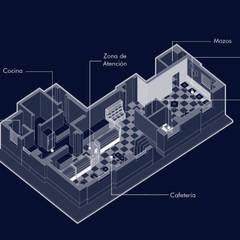 VISTA DISTRIBUCIÓN: Restaurantes de estilo  por SXL ARQUITECTOS