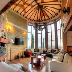Casa Las Lomitas: Salas de estilo  por cesar sierra daza Arquitecto, Rústico Cerámico