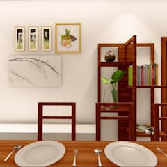 3 BHK for an NRI Client at Hyderabad, India:  Dining room by Aikaa Designs