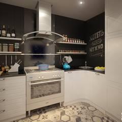 Двухуровневая квартира в современном стиле: Встроенные кухни в . Автор – Art-line Design,