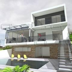 Maison contemporaine à porte à faux sur terrain en pente: Maison individuelle de style  par Atelier SCENARIO