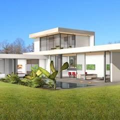 Maison contemporaine de luxe concept dedans / dehors: Maison individuelle de style  par Atelier SCENARIO