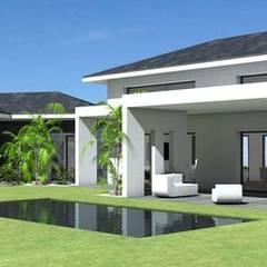 Maison contemporaine à grande terrasse couverte et tuiles noires: Maison individuelle de style  par Atelier SCENARIO