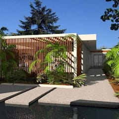 Maison contemporaine en C à parement pierres noires: Maison individuelle de style  par Atelier SCENARIO