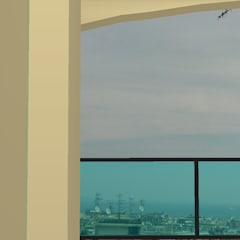 Veduta della città dai balconi: Balcone in stile  di Ing. Edoardo Contrafatto