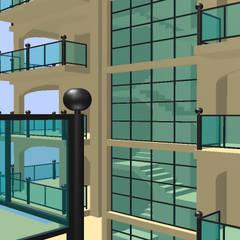 Prospetto - Corpo scala: Balcone in stile  di Ing. Edoardo Contrafatto