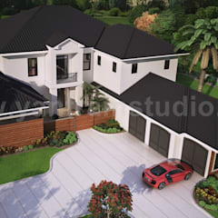 Modern 3D Exterior Rendering (top view) with brown metal roof House by Yantram Architectural and Design Services, Washington - USA:  Multi-Family house by Yantram Architectural Design Studio