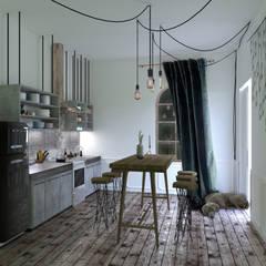 One bedroom flat concept:  Kitchen by Hexa Design Milano