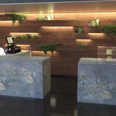 Vertical garden café concept:  Bars & clubs by Hexa Design Milano