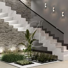 Modern Luxury Indoor Garden Design:  Stairs by Comelite Architecture, Structure and Interior Design