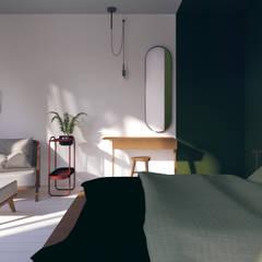 zielona sypialnia urban jungle: styl , w kategorii Małe sypialnie zaprojektowany przez Pracownia Zew,Eklektyczny