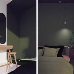 zielona sypialnia urban jungle: styl , w kategorii Małe sypialnie zaprojektowany przez Pracownia Zew