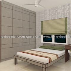 3 BHK Apartment for a young couple:  Bedroom by Honeybee Interior Designers