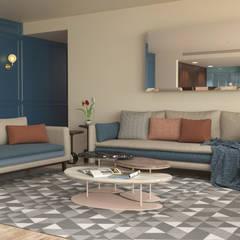 DPTO KAANALI: Salas de estilo  por Simple Mob sa de cv, Mediterráneo Madera maciza Multicolor