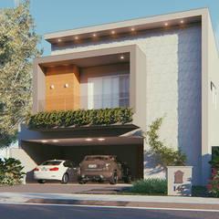 Fachada Frontal - Residência Condomínio Damha III: Casas familiares  por Sá Earp Arquitetura