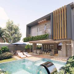 Fachada Posterior - Residência Condomínio Damha III: Casas familiares  por Sá Earp Arquitetura