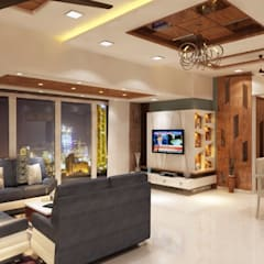 Sudhir Zaware's Residence interior:  Living room by Square 4 Design & Build