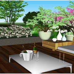 Jardin contemporain au pied de la Sainte Victoire: Terrasse de style  par Atelier Naudier,