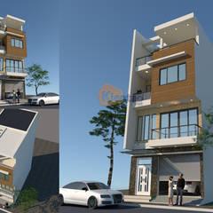Mẫu nhà phố đẹp 4 tầng chi phí 900 triệu tại Chương Mỹ – NP 136:  Biệt thự by CÔNG TY CỔ PHẦN XD&TM KIẾN TẠO VIỆT, Hiện đại