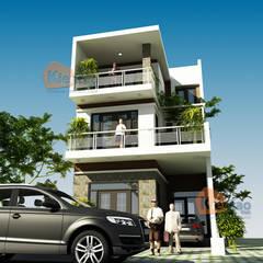 Biệt thự phố hiện đại 3 tầng ban công ấn tượng tại Hương Yên – BT 100:  Biệt thự by CÔNG TY CỔ PHẦN XD&TM KIẾN TẠO VIỆT, Hiện đại