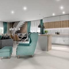 Projekt schodów z salonu: styl , w kategorii Schody zaprojektowany przez Projektowanie Wnętrz Online