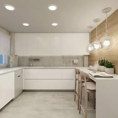 Renovação de apartamento - materiais e layout de cozinha e WC : Cozinhas embutidas  por Glim - Design de Interiores