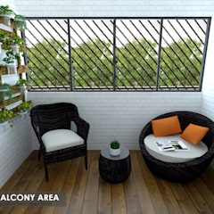 Serangoon Central:  Balcony by Swish Design Works,Asian