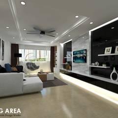 Ang Mo Kio Ave 3:  Living room by Swish Design Works